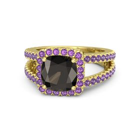 Cushion Smoky Quartz 14K Yellow Gold Ring with Amethyst