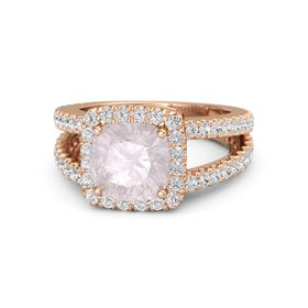 Cushion Rose Quartz 18K Rose Gold Ring with White Sapphire