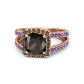 Cushion Smoky Quartz 18K Rose Gold Ring with Smoky Quartz and Amethyst