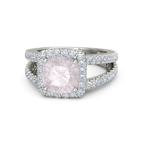 Cushion Rose Quartz 18K White Gold Ring with Diamond