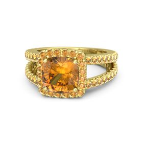 Cushion Citrine 18K Yellow Gold Ring with Citrine