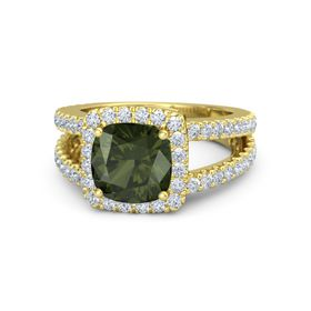Cushion Green Tourmaline 18K Yellow Gold Ring with Diamond