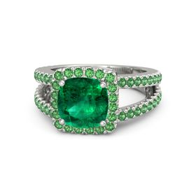 Cushion Emerald Palladium Ring with Emerald
