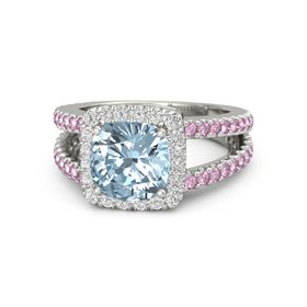 Cushion Aquamarine Palladium Ring with White Sapphire and Pink Sapphire