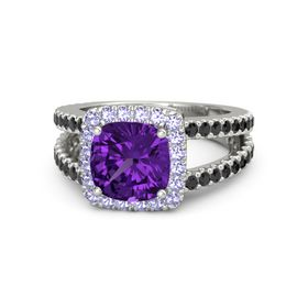 Cushion Amethyst Platinum Ring with Tanzanite and Black Diamond