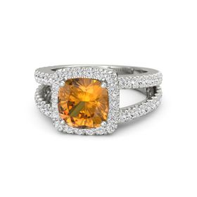 Cushion Citrine Platinum Ring with White Sapphire