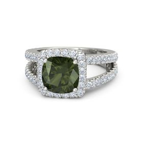 Cushion Green Tourmaline Platinum Ring with Diamond