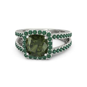Cushion Green Tourmaline Platinum Ring with Alexandrite
