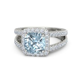Cushion Aquamarine Platinum Ring with Diamond