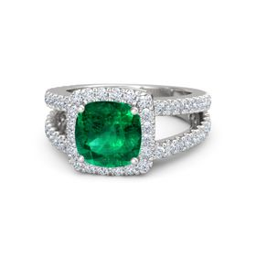 Cushion Emerald Sterling Silver Ring with Diamond