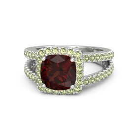 Cushion Red Garnet Sterling Silver Ring with Peridot