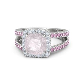 Cushion Rose Quartz Sterling Silver Ring with Diamond and Pink Sapphire