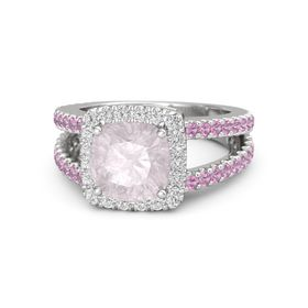 Cushion Rose Quartz Sterling Silver Ring with White Sapphire and Pink Tourmaline