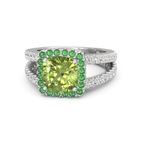 Cushion Peridot Sterling Silver Ring with Emerald & White Sapphire
