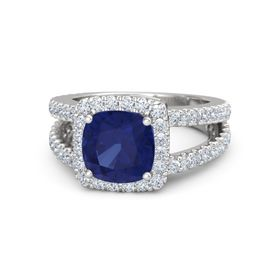 Cushion Sapphire Sterling Silver Ring with Diamond