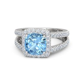 Cushion Blue Topaz Sterling Silver Ring with Diamond