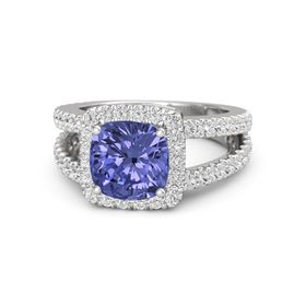 Cushion Tanzanite Sterling Silver Ring with White Sapphire