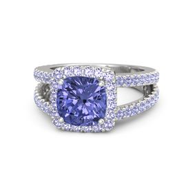 Cushion Tanzanite Sterling Silver Ring with Tanzanite