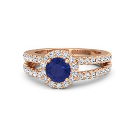 Round Sapphire 14K Rose Gold Ring with Diamond & White Sapphire