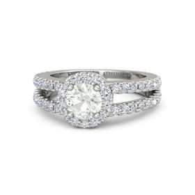 Round Green Amethyst 14K White Gold Ring with Diamond