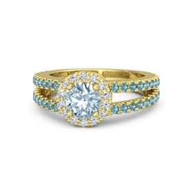 Round Aquamarine 18K Yellow Gold Ring with Diamond and London Blue Topaz