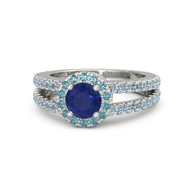 Round Blue Sapphire Palladium Ring with London Blue Topaz and Blue Topaz