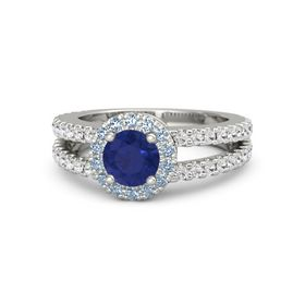 Round Blue Sapphire Palladium Ring with Blue Topaz and White Sapphire