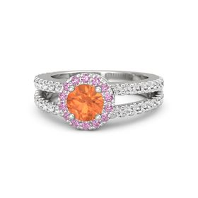 Round Fire Opal Sterling Silver Ring with Pink Tourmaline & White Sapphire