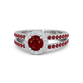 Round Ruby Sterling Silver Ring with Diamond & Ruby