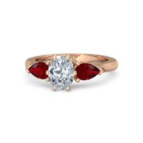 Oval Diamond 14K Rose Gold Ring with Ruby