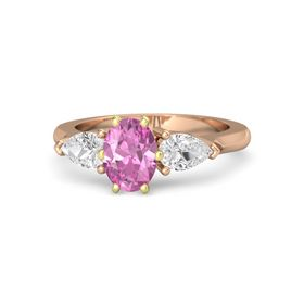 Oval Pink Sapphire 14K Rose Gold Ring with White Sapphire