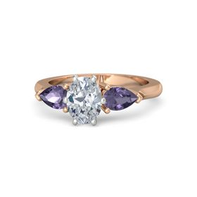 Oval Diamond 14K Rose Gold Ring with Iolite