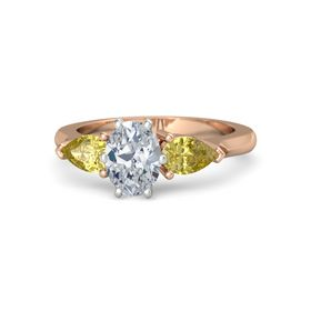 Oval Diamond 14K Rose Gold Ring with Yellow Sapphire