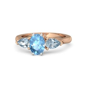 Oval Blue Topaz 14K Rose Gold Ring with Aquamarine