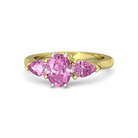 Oval Pink Sapphire 14K Yellow Gold Ring with Pink Sapphire