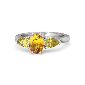 Oval Citrine Sterling Silver Ring with Yellow Sapphire