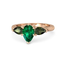 Pear Emerald 14K Rose Gold Ring with Green Tourmaline