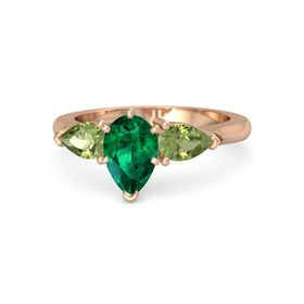 Pear Emerald 14K Rose Gold Ring with Peridot