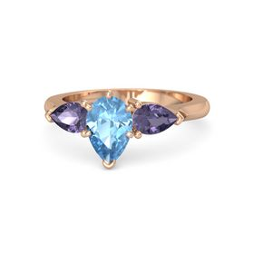 Pear Blue Topaz 14K Rose Gold Ring with Iolite