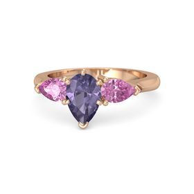 Pear Iolite 14K Rose Gold Ring with Pink Sapphire