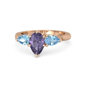 Pear Iolite 14K Rose Gold Ring with Blue Topaz