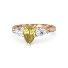 Pear Yellow Sapphire 14K Rose Gold Ring with White Sapphire
