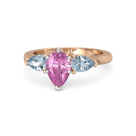 Pear Pink Sapphire 14K Rose Gold Ring with Aquamarine