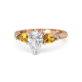 Pear White Sapphire 14K Rose Gold Ring with Citrine