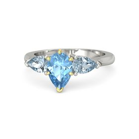Pear Blue Topaz 14K White Gold Ring with Aquamarine