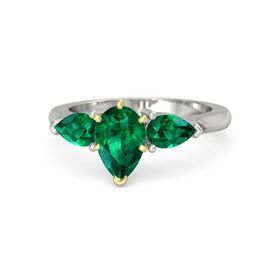 Pear Emerald 14K White Gold Ring with Emerald