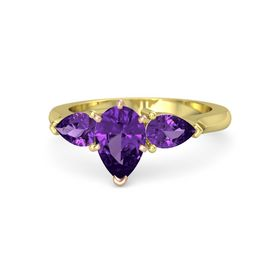 Pear Amethyst 14K Yellow Gold Ring with Amethyst