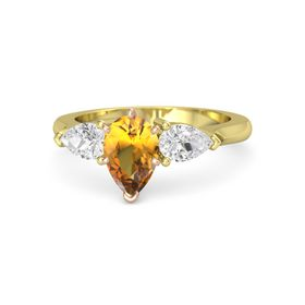 Pear Citrine 14K Yellow Gold Ring with White Sapphire
