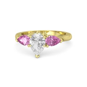 Pear White Sapphire 14K Yellow Gold Ring with Pink Sapphire
