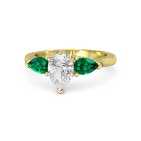Pear White Sapphire 14K Yellow Gold Ring with Emerald